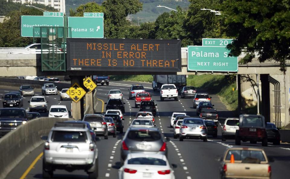 An erroneous warning of an inbound missile on Jan. 13 from Hawaii's Emergency Management Agency (left) was not corrected for 38 minutes, causing panic throughout the state.