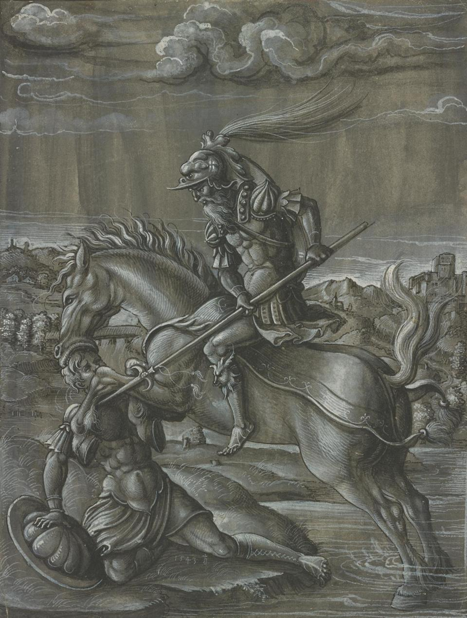 "Jorg Breu the Younger's ""Artybio on Horseback Attacking Onesilus"""