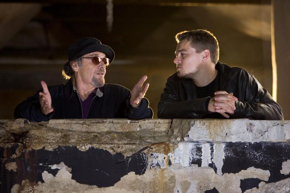 "Jack Nicholson and Leonardo DiCaprio in the Boston-based gangster film ""The Departed."""