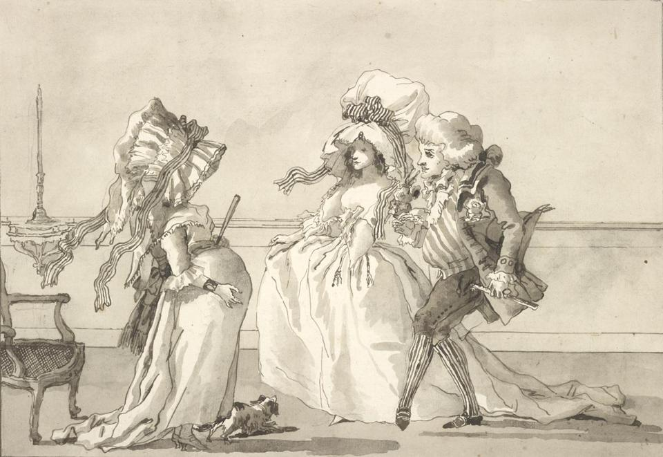 "Giovanni Domenico Tiepolo's ""Scene of Contemporary Life: The Chaperoned Visit, or the Presentation of the Fiancé"" is part of ""Drawn to Greatness: Master Drawings From the Thaw Collection"" at Clark Art Institute."