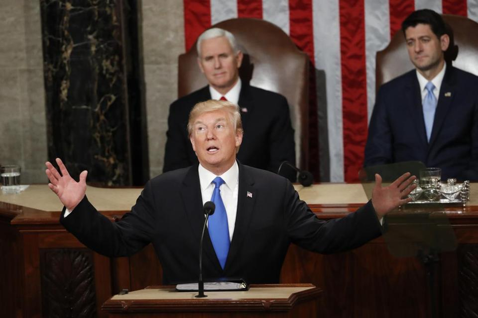 President Donald Trump delivers his State of the Union address to a joint session of Congress on Capitol Hill in Washington, Tuesday, Jan. 30, 2018. (AP Photo/Pablo Martinez Monsivais)