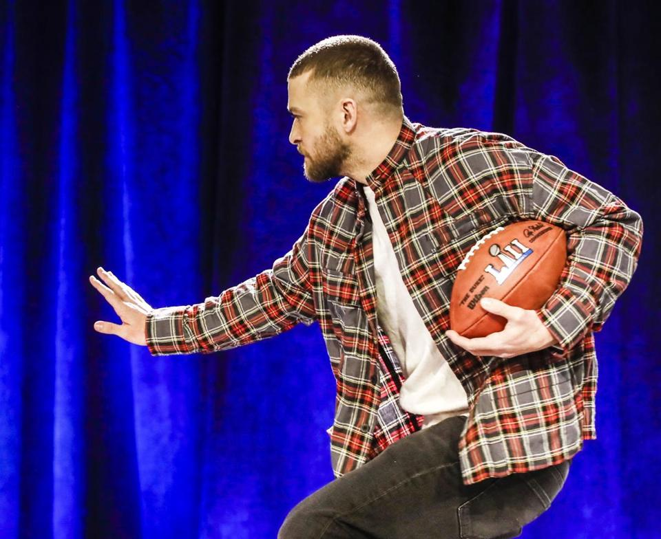 Justin Timberlake performs Sunday during the Super Bowl halftime show.