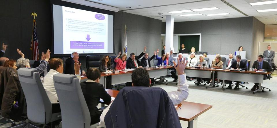 The rates approved Thursday by the Massachusetts Group Insurance Commission (shown at Feb. 1 meeting) apply to hundreds of thousands of state and local employees, retirees, and their families.