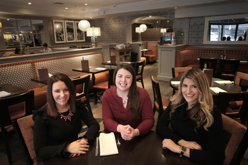 Boston, MA - 1/17/18 - Pausing inside Stephanie's on Newbury are (l to r, all cq) Erica Aylward, Amanda Tassinari Hamedany, Christina Attaway. The Newbury Street Collaborative is an effort by the employees of two real estate companies and the Back Bay Association to create a community among the street's retailers. () Reporter: (Janelle Nanos) Topic: ()