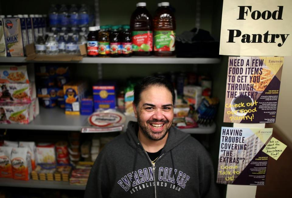 Chase Ybarra, an Emerson student, is advising the Boston college on increasing the stocks at its food pantry.