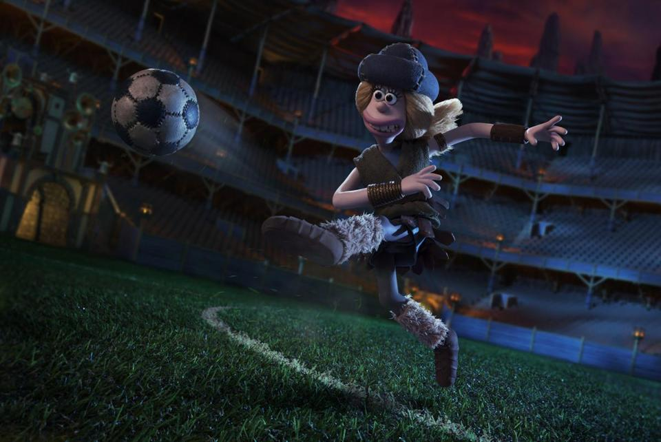"Cavemen compete against a superior civilization's elite soccer squad in the claymation comedy ""Early Man."""