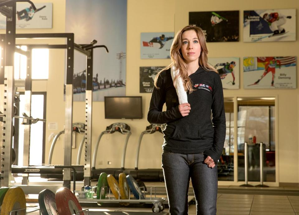 Caralyn Baxter is a physical therapist for the USA Olympic Ski Team and will be traveling to PyeongChang for the upcoming Olympics. She is photographed in the USAA Center of Excellence where she works as physical therapist on January 31, 2018 in Park City, Utah. Photo by Kim Raff for The Boston Globe