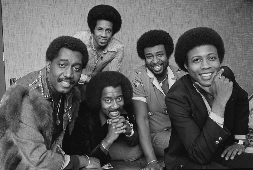 Mr. Edwards (second from right) with group members (from left) Otis Williams, Richard Street, Melvin Franklin, and Glenn Beonard.