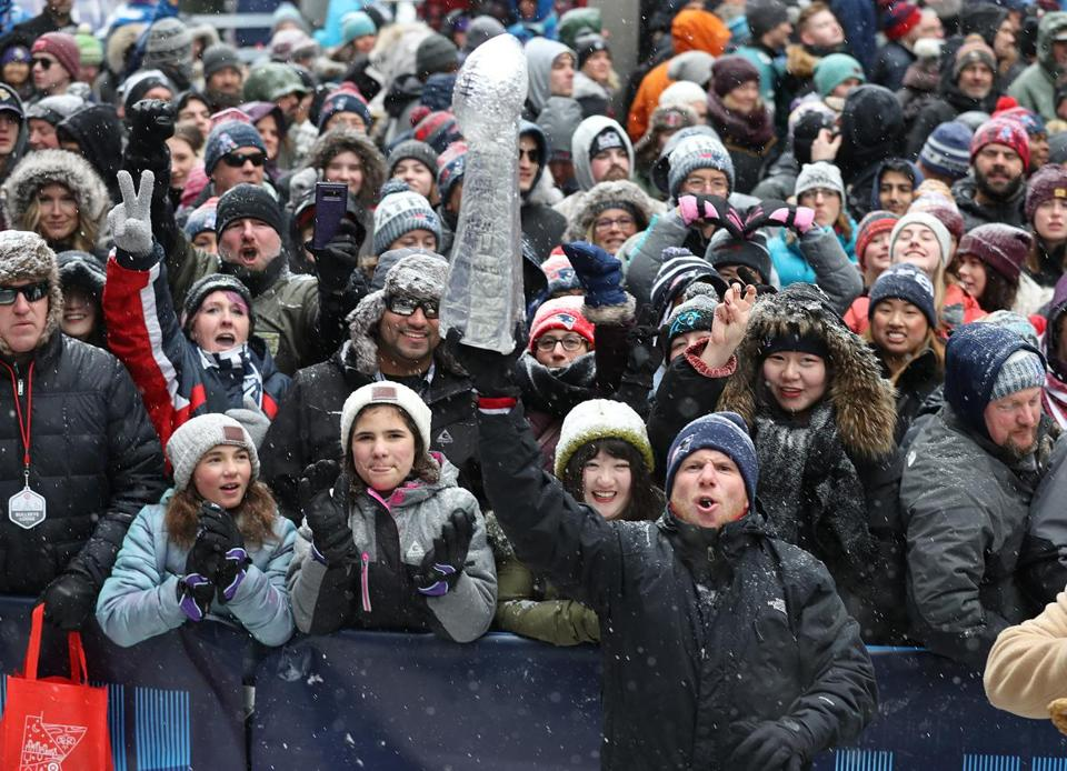 Patriots fans were in the spirit Saturday during a pre-Super Bowl rally in downtown Minneapolis.