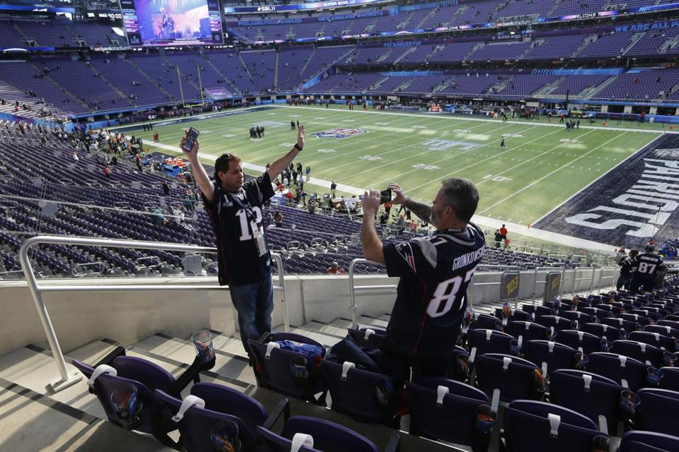 Bill Yetman of Attleborough takes a picture of friend Ken Swerdlick from Connecticut before Super Bowl LII.