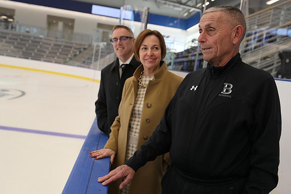 From left, Shepardson, Larson, and DeFelice take in the new facility.