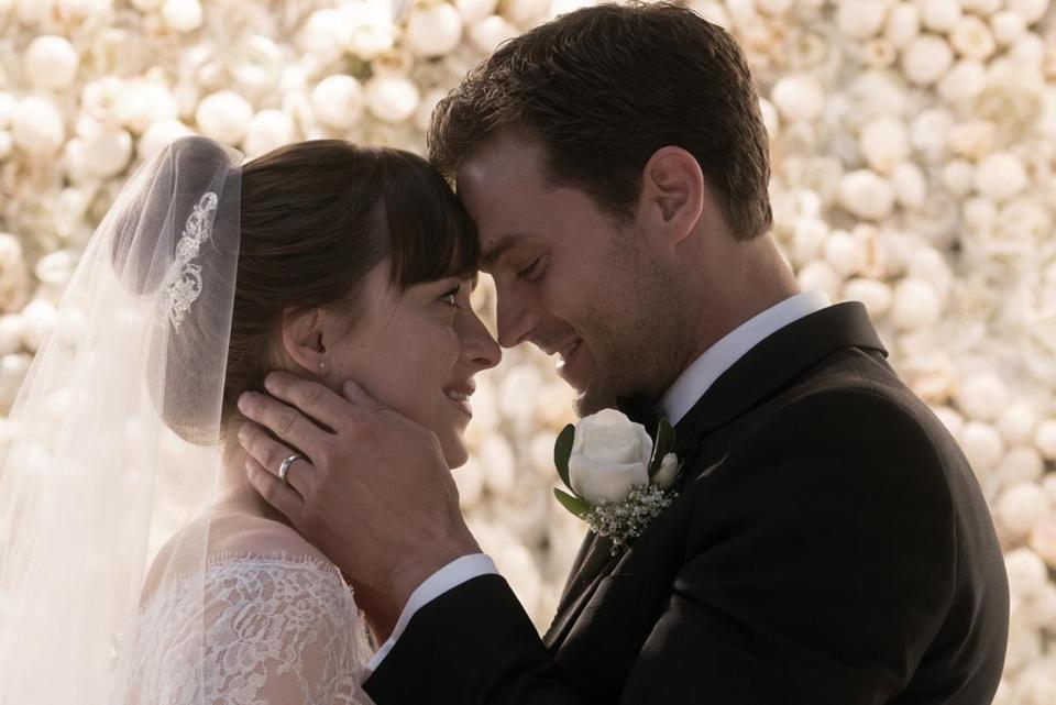 "Dakota Johnson and Jamie Dornan are back together one last time as Ana and Christian in ""Fifty Shades Freed."""