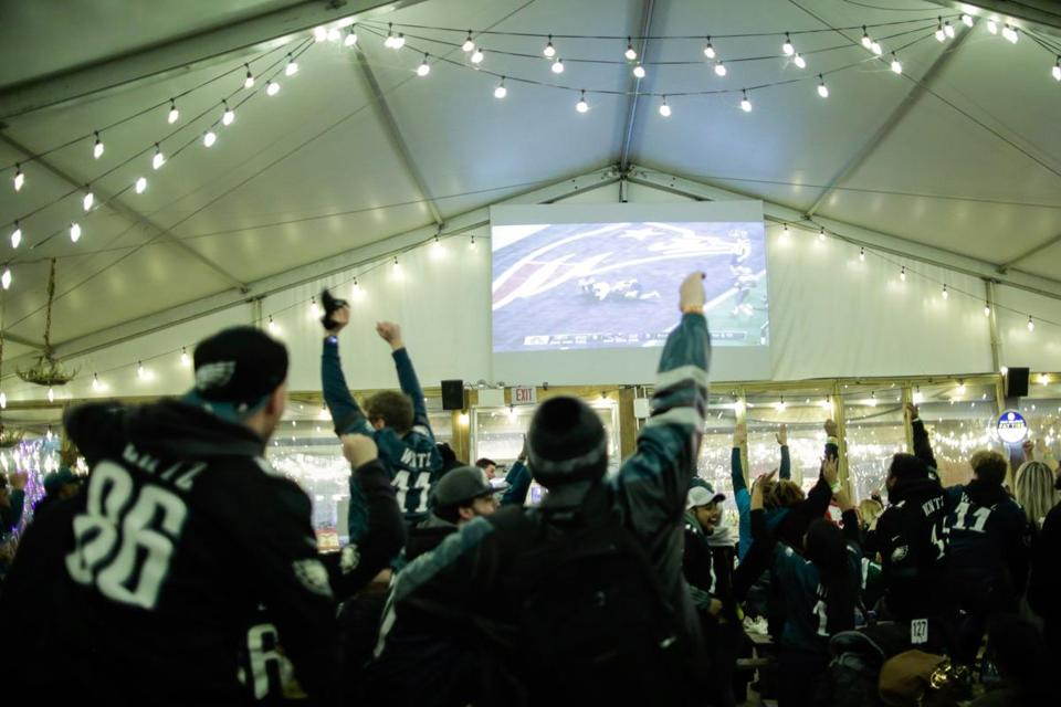 Fans watched the Super Bowl LII at a bar in Philadelphia, PA.