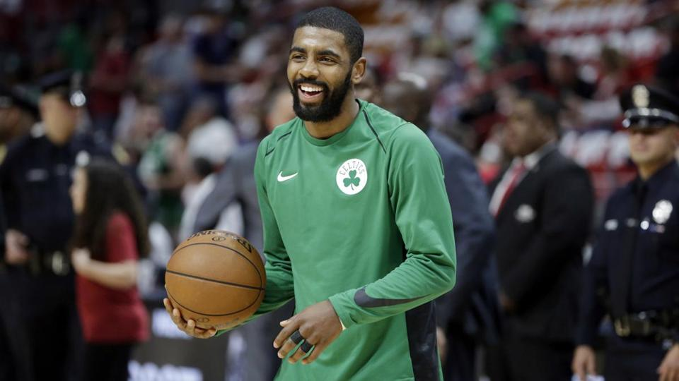 Boston Celtics guard Kyrie Irving, shown warming up before a game against the Heat in Miami in November 2017.