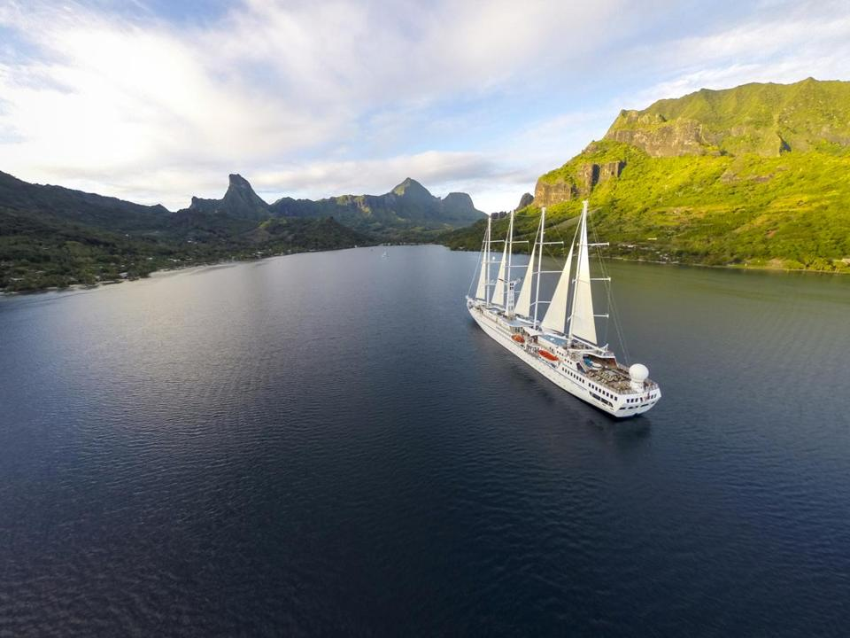 Check out the islands of Tahiti aboard the four-masted Wind Spirit.