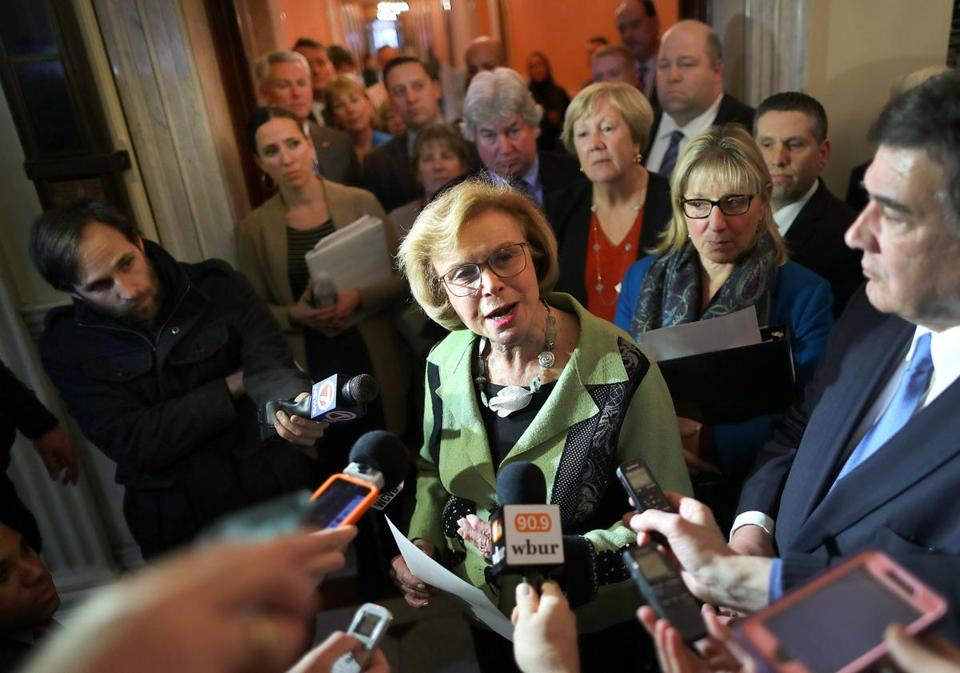 Acting Senate President Harriette Chandler addressed reporters at the State House on Wednesday.