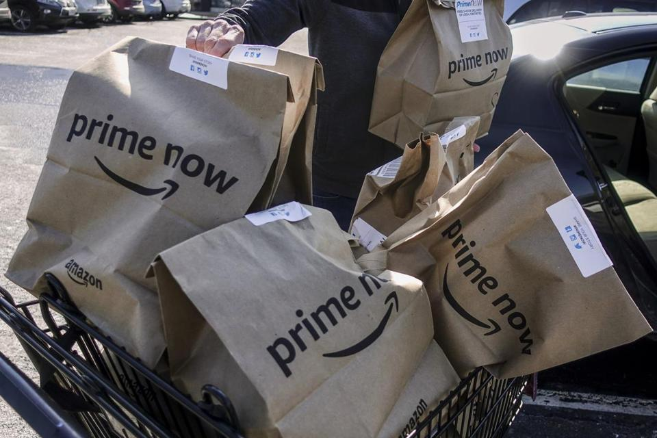 Amazon said deliveries of Whole Foods groceries started Thursday in Austin, Texas; Cincinnati; Dallas; and Virginia Beach, Va. The deliveries are offered free and within two hours to Amazon Prime subscribers.