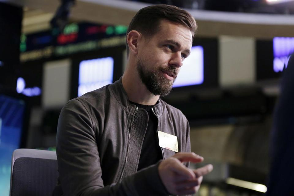 FILE - In this Nov. 19, 2015, file photo, Square CEO Jack Dorsey is interviewed on the floor of the New York Stock Exchange. Twitter CEO Dorsey serves as the head of payments company Square, taking advantage of the companies' close geographical locations to split his time between the two. (AP Photo/Richard Drew, File)