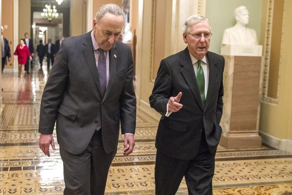 Mandatory Credit: Photo by SHAWN THEW/EPA-EFE/REX/Shutterstock (9360173r) Chuck Schumer and Mitch McConnell Senate leaders reach a two year spending deal.