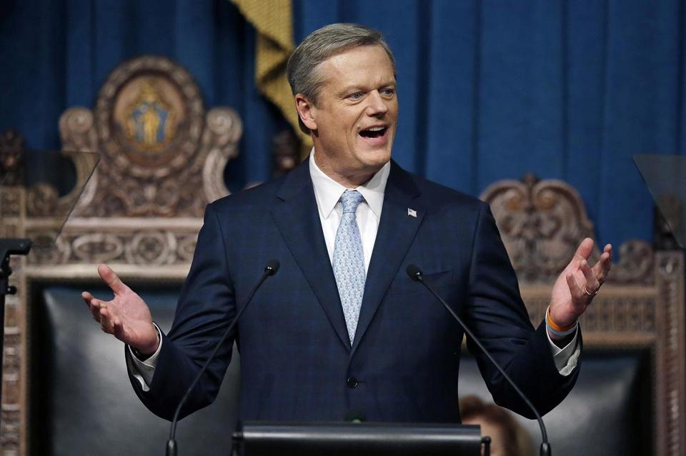 Massachusetts Gov. Charlie Baker deliverd his state of the state address in the House Chamber in Boston earlier this year.