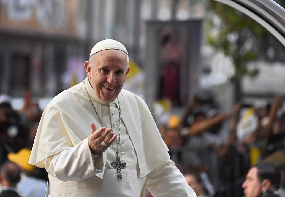 Pope Francis waves at the faithful from the Popemobile in Santiago, on January 15, 2018. Pope Francis is visiting Chile from January 15 to 18, before heading to Peru from January 18 to 21. / AFP PHOTO / EITAN ABRAMOVICHEITAN ABRAMOVICH/AFP/Getty Images