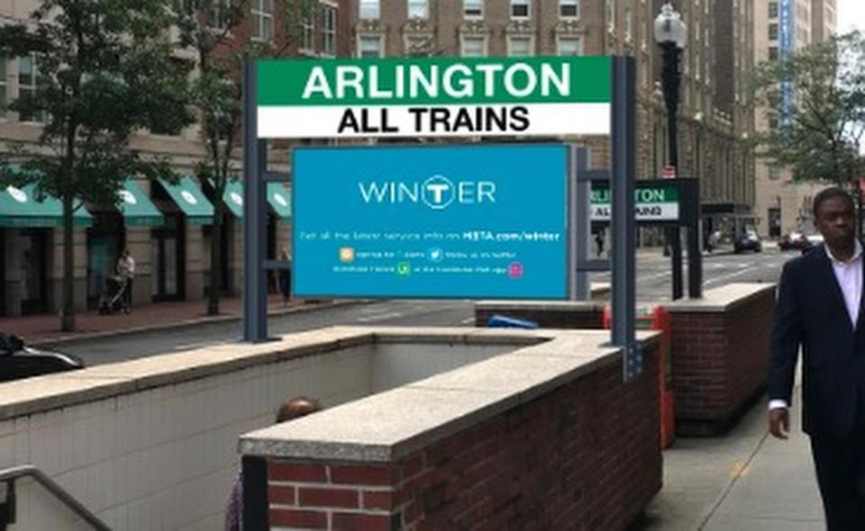 This handout image shows the type of outdoor digital billboard proposed for Arlington and several other T stations.