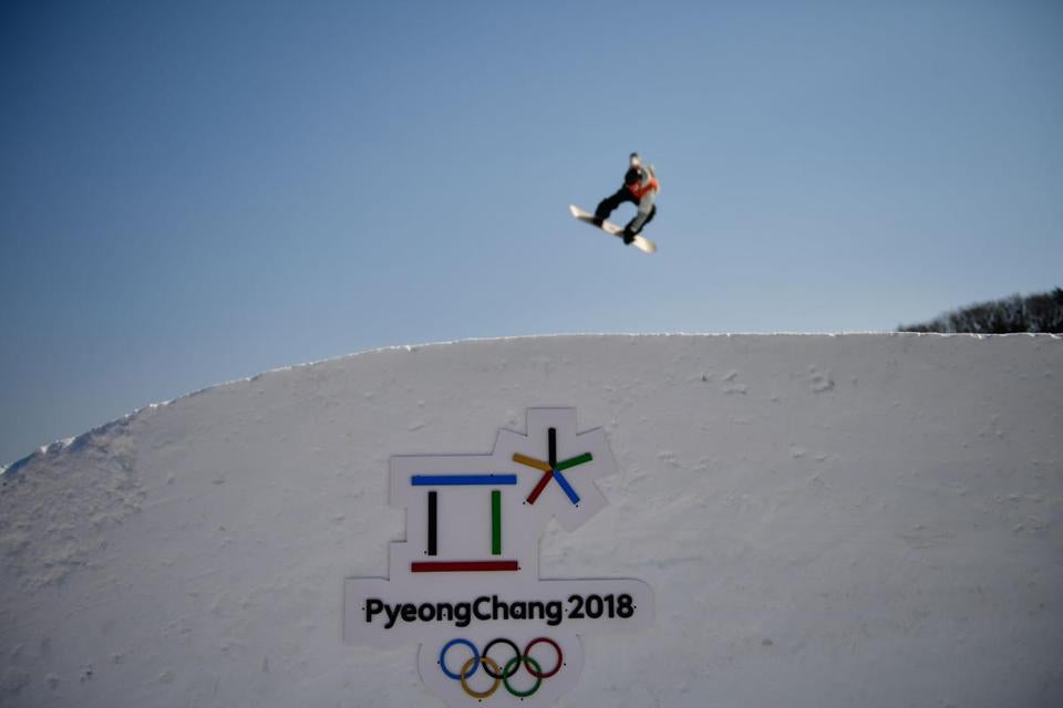 An athlete takes part in a snowboard slopestyle training session on February 8, 2018 at the Phoenix Park, on the eve of the opening ceremony of the PyeongChang 2018 Winter Olympic Games. / AFP PHOTO / Martin BUREAUMARTIN BUREAU/AFP/Getty Images