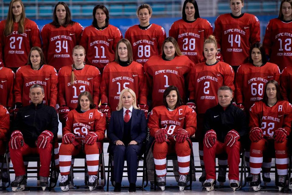 Members of the Olympic Athletes from Russia's women's ice hockey team posed for photos at the Kwandong Hockey Centre in Gangneung on Thursday.