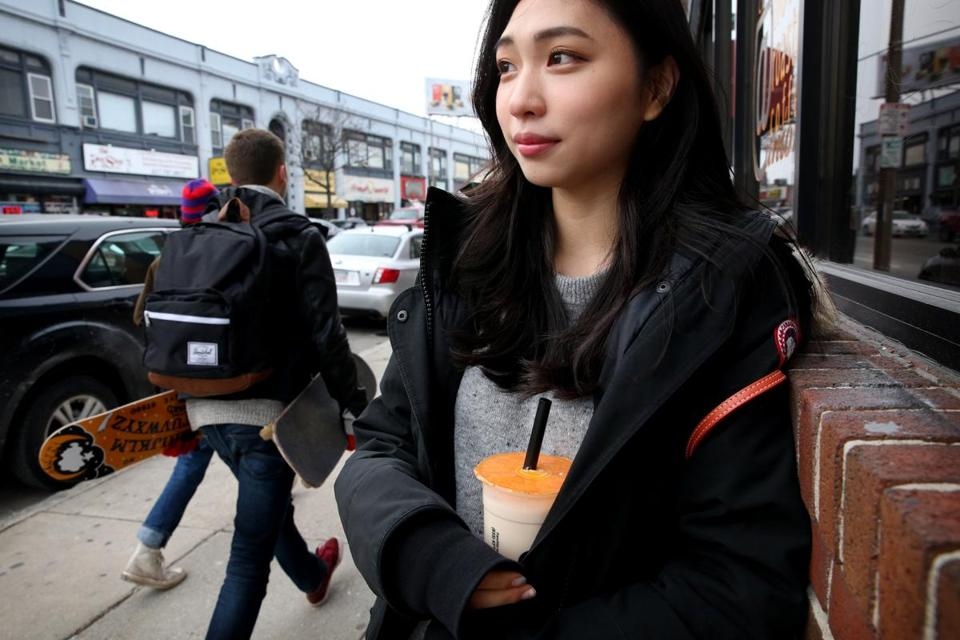 Allston, MA- February 09, 2018: Boston University senior Emily Lee, left, of Seoul, Korea, poses for a portrait after having lunch at Seoul Topokki in Allston, MA on February 09, 2018. (Craig F. Walker/Globe Staff) section: metro reporter: macquarrie (Emily Lee id from Seoul and should be in the story)