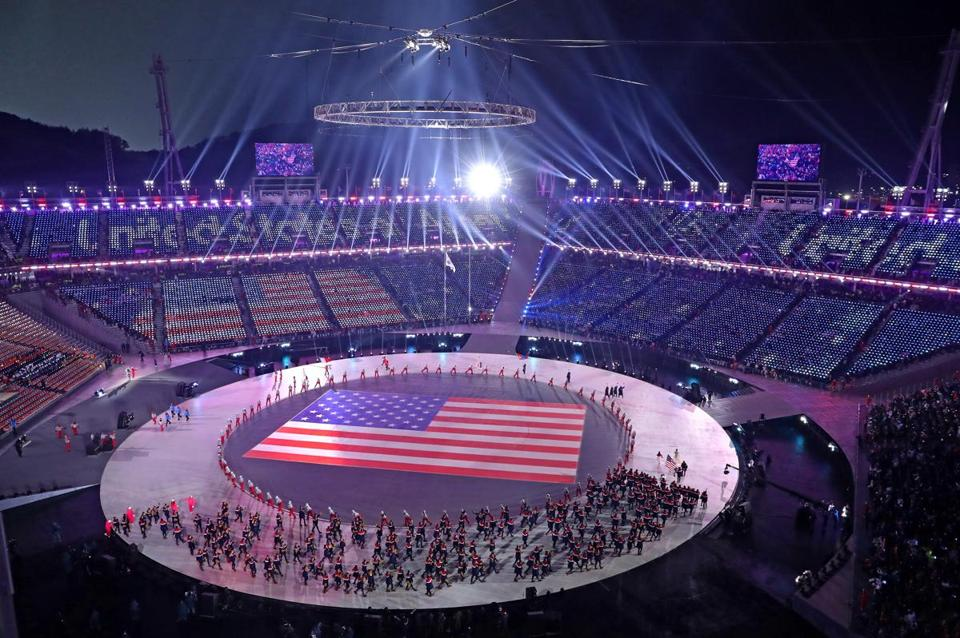 A general view as United States athletes entered the stadium during the Opening Ceremony on Friday.