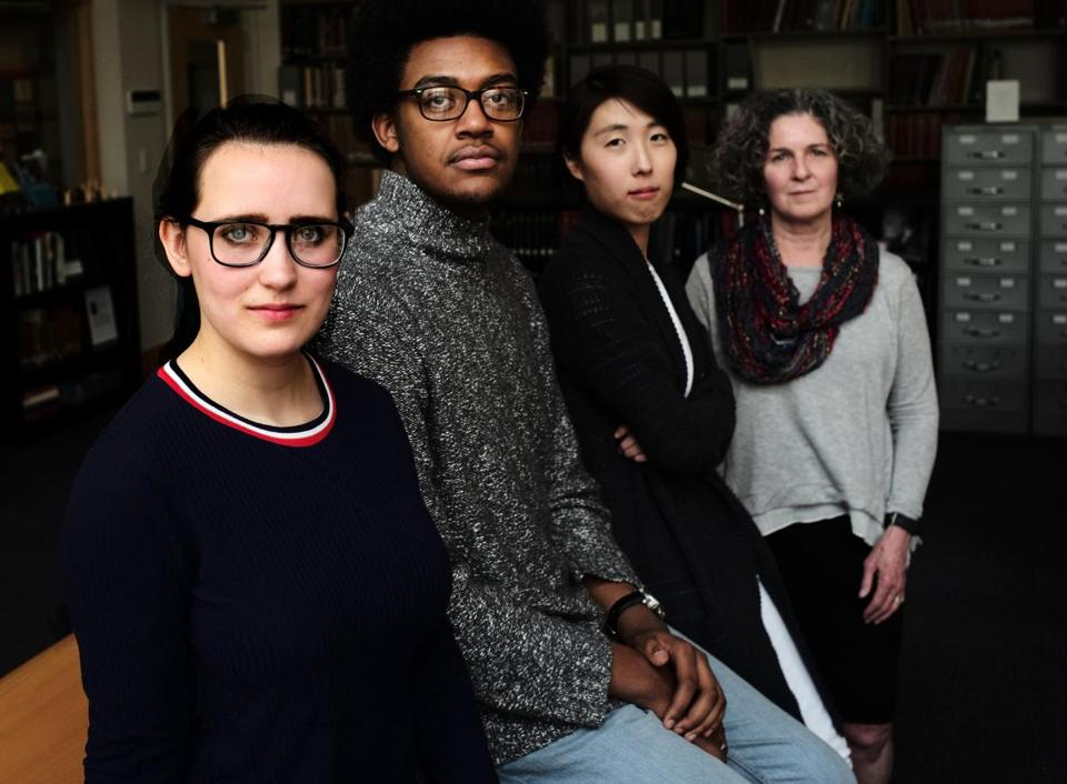 From left, MIT underclassmen Charlotte Minsky and Kelvin Green II  worked with graduate student Clare Kim and archivist Nora Murphy on a project to delve into MIT's early history and how it tied to slavery.