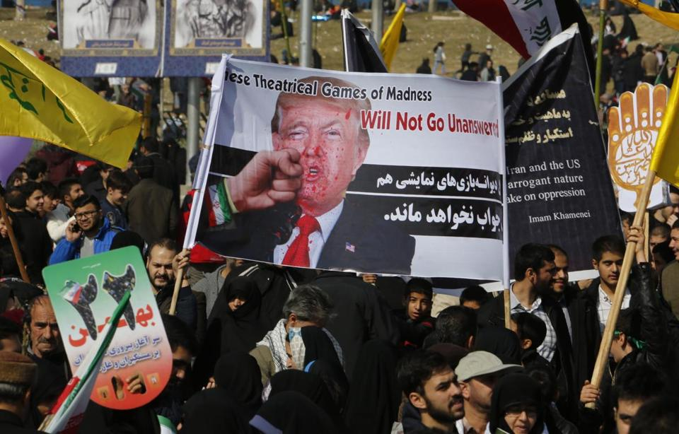Iranians on Sunday  took part in a rally marking the anniversary of the 1979 Islamic revolution.