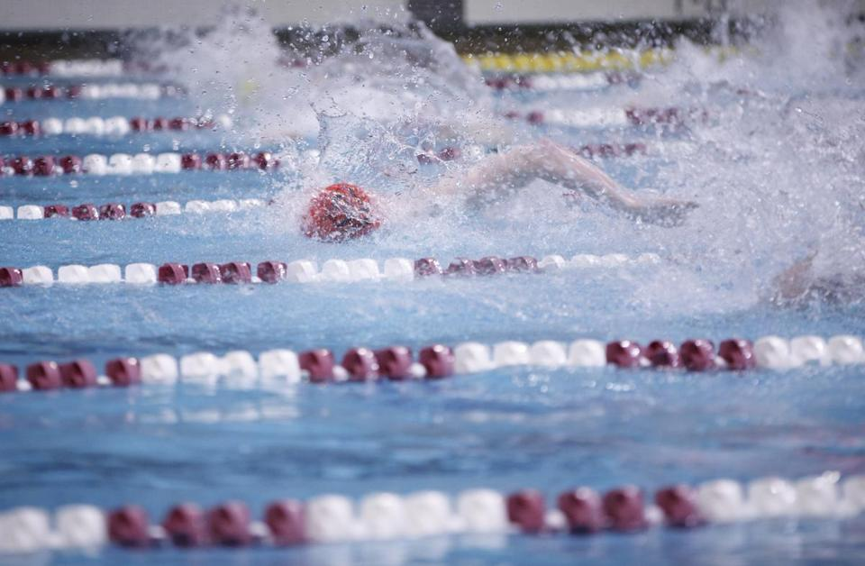Reading senior Kevin Spear competed in the 50-meter freestyle at the North Sectional meet.