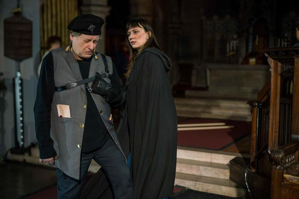 "Steven Barkhimer and Mara Sidmore in Actors' Shakespeare Project's production of ""Richard III,"" at Swedenborg Chapel through March 11."