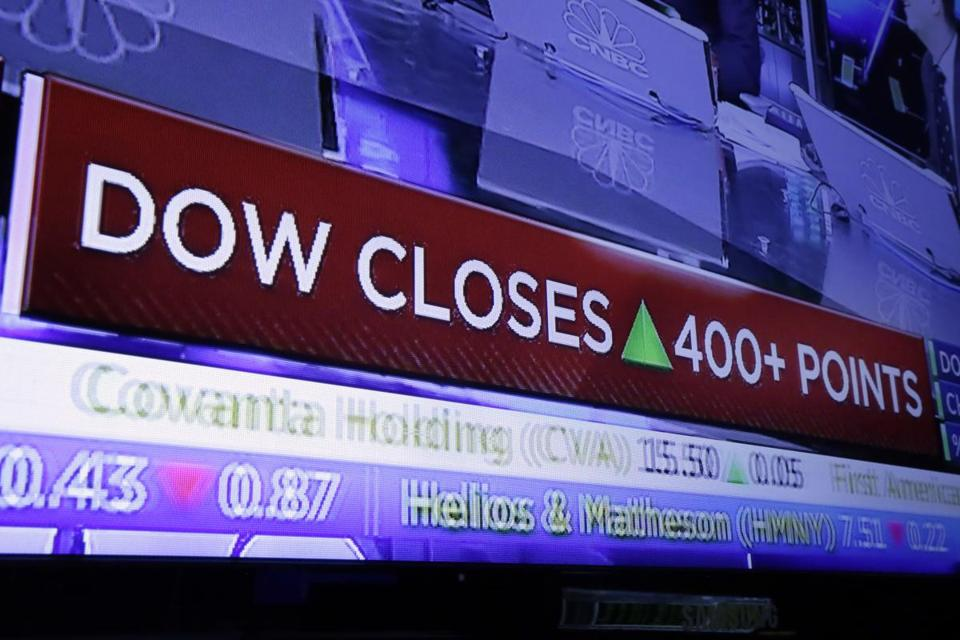 A television screen on the floor of the New York Stock Exchange on Monday  headlined the