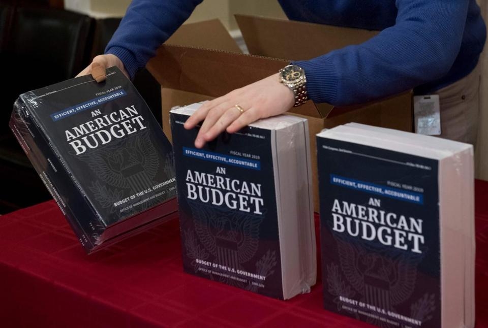 A Congressional staff member delivered copies of President Donald Trump's Fiscal Year 2019 Government Budget at the House Budget Committee on Capitol Hill on Monday.