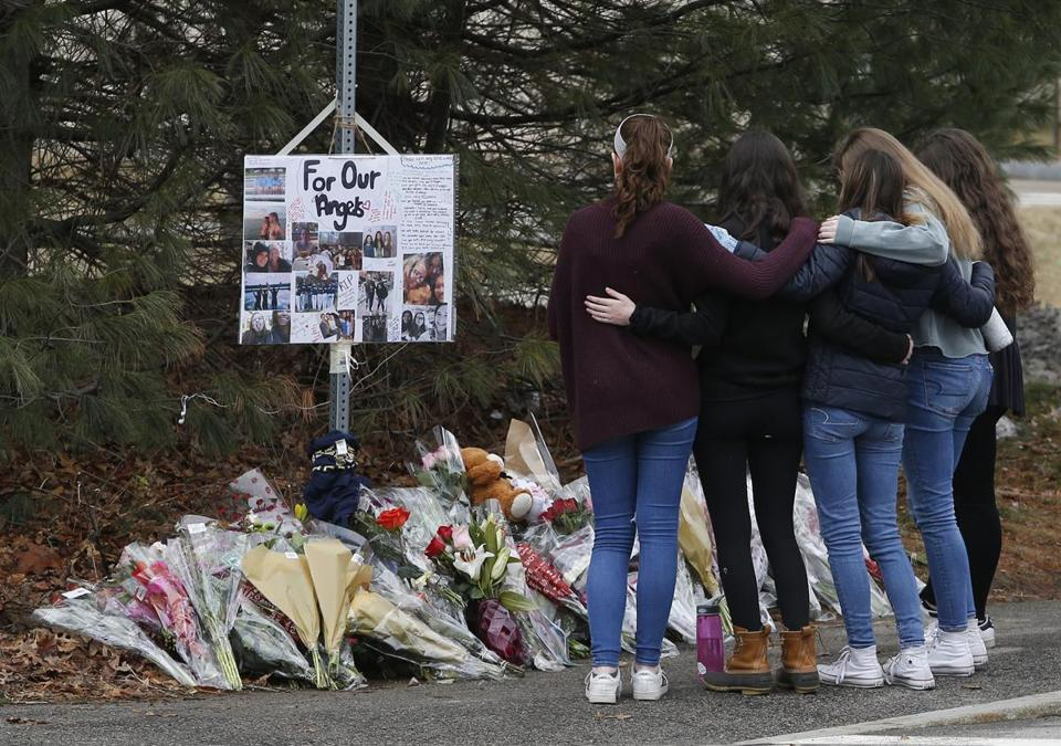 Students visited a makeshift memorial for Talia Newfield and Adrienne Garrido, who were fatally struck by a car in Needham on Saturday.