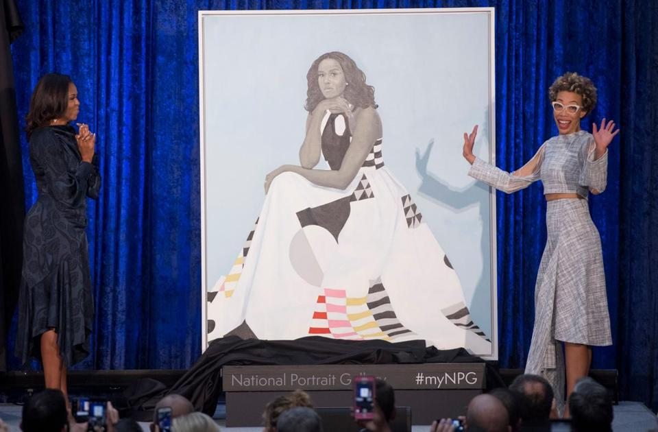 Michele Obama and artist Amy Sherald unveiled Mrs. Obama's portrait at the Smithsonian's National Portrait Gallery in Washington, D.C.