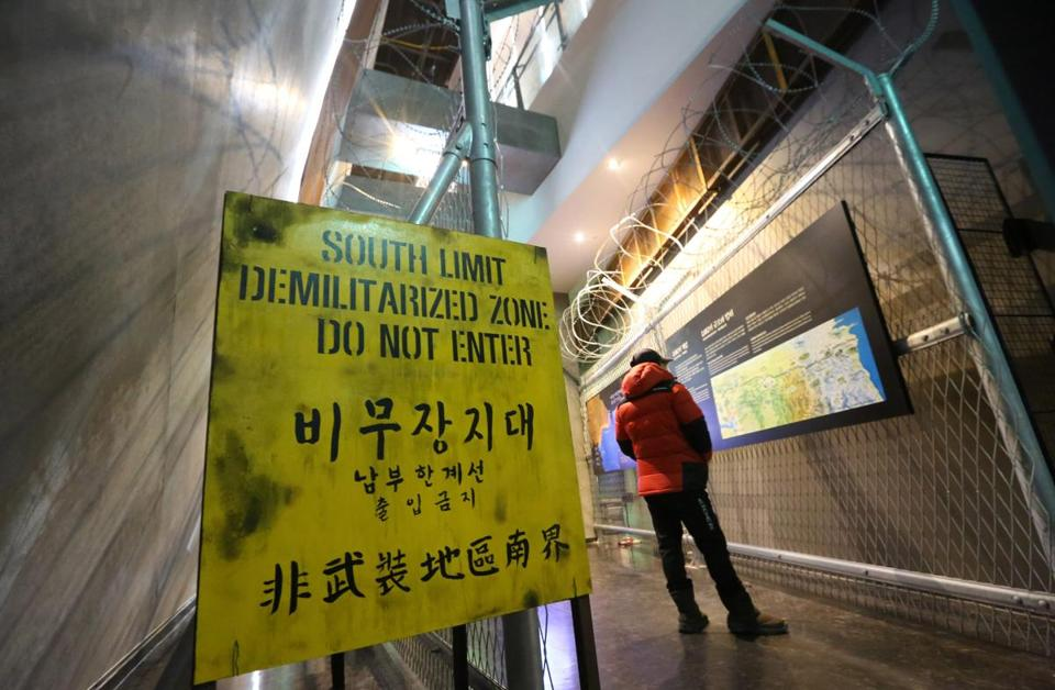 A visitor looked at exhibits in the Korean Demilitarized Zone Museum.