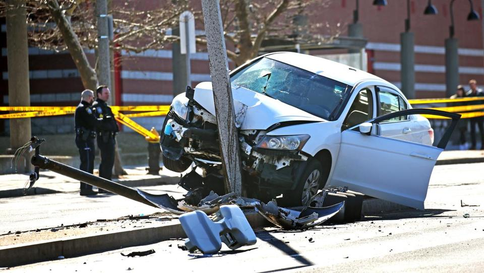 Two teenagers were injured Tuesday when they were struck by a car while crossing Columbus Avenue in Roxbury in a crosswalk.