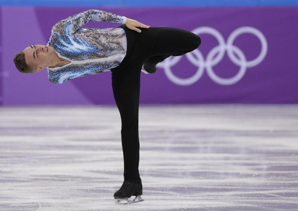 Adam Rippon performed in the men's single free skate of the team event on Monday.