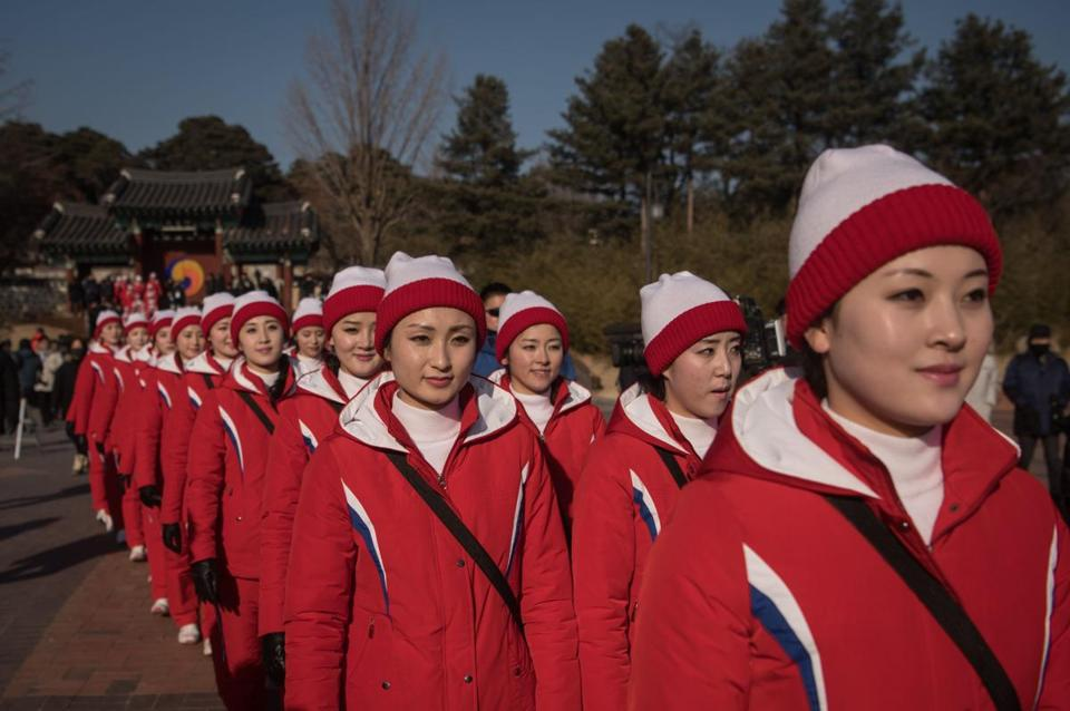 North Korean cheerleaders outnumber North Korean athletes at the Olympics, 230-22.