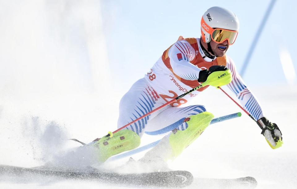 Mandatory Credit: Photo by CHRISTIAN BRUNA/EPA-EFE/REX/Shutterstock (9374978ht) Jared Goldberg Alpine Skiing - PyeongChang 2018 Olympic Games, Bukpyeong, Korea - 13 Feb 2018 Jared Goldberg of the USA in action during the Slalom portion of the Men's Alpine Combined race at the Jeongseon Alpine Centre during the PyeongChang 2018 Olympic Games, South Korea, 13 February 2018.