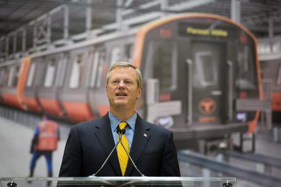 Mass. Gov Charlie Baker speaks after he toured a new factory where the Chinese company CRRC will build new MBTA cars for the Red and Orange lines, in Springfield, MA on Thursday, October 12, 2017. (Matthew Cavanaugh for The Boston Globe)