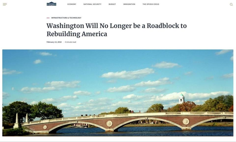 The White House used an image of the wrong bridge near Harvard to criticize government permitting for infrastructure projects.