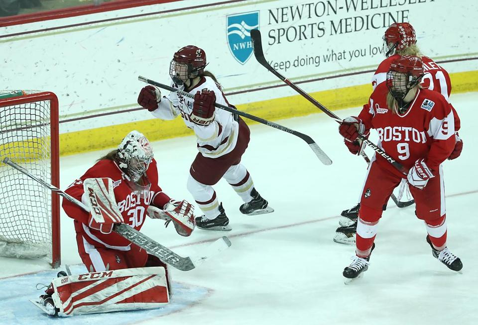 BC freshman Daryl Watts celebrates her tying goal in the third period of the women's Beanpot title game Tuesday at Conte Forum.