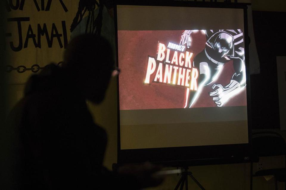 "Fans watched a screening of a new animated version of ""Black Panther"" in Dorchester on Wednesday night."