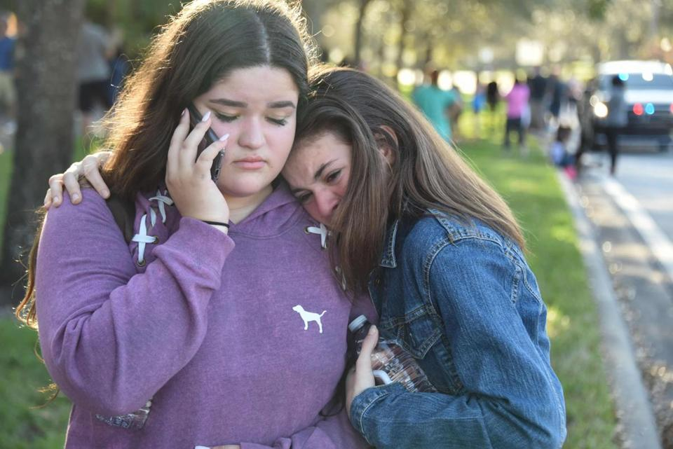 Students reacted outside Marjory Stoneman Douglas High School in Parkland.