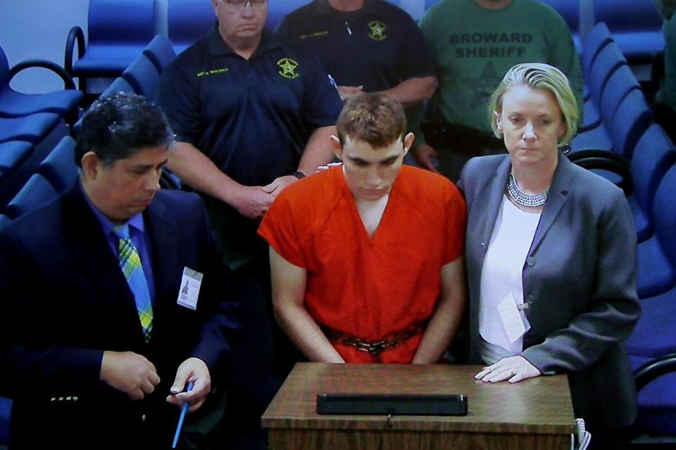 Mandatory Credit: Photo by Susan Stocker/POOL/EPA-EFE/REX/Shutterstock (9411717a) Suspected school shooter Nikolas Cruz (C) makes a video appearance in Broward County court before Judge Kim Theresa Mollica, Fort Lauderdale, Florida, USA, 15 February 2018. Cruz is facing 17 charges of premeditated murder in the mass shooting at Marjory Stoneman Douglas High School in Parkland. Nikolas Cruz first court appearance, Fort Lauderdale, USA - 15 Feb 2018