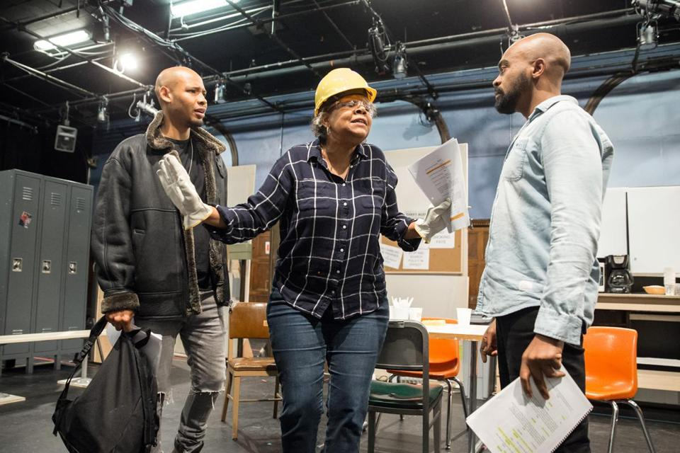 "Jonathan Louis Dent (left), Patricia R. Floyd, and Maurice Emmanuel Parent at a rehearsal for ""Skeleton Crew."""